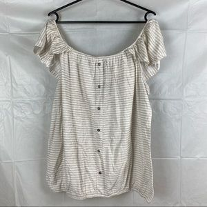 Crossroads Off The Shoulder Striped Blouse Top Size XXL